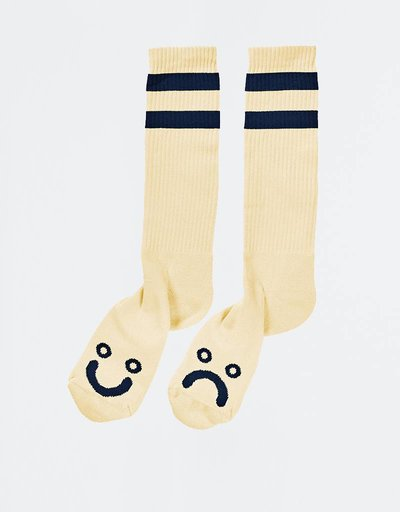 Polar Happy Sad Socks Pastel Yellow