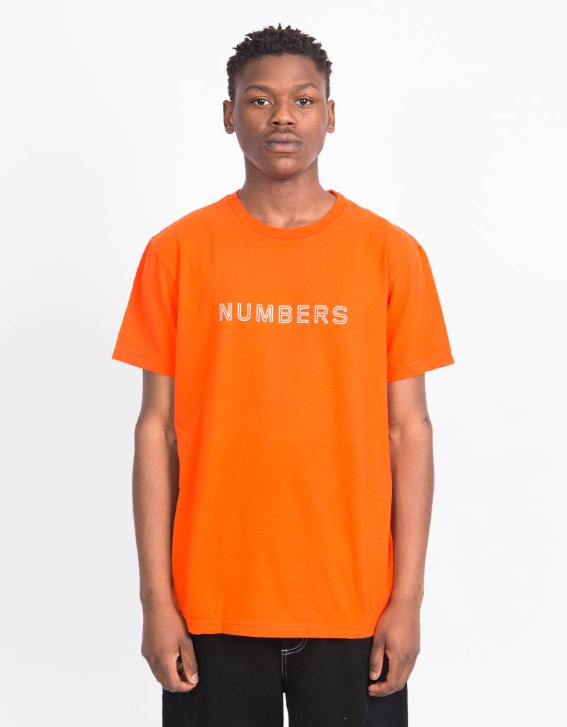 Numbers Outline Wordmark T-Shirt Orange
