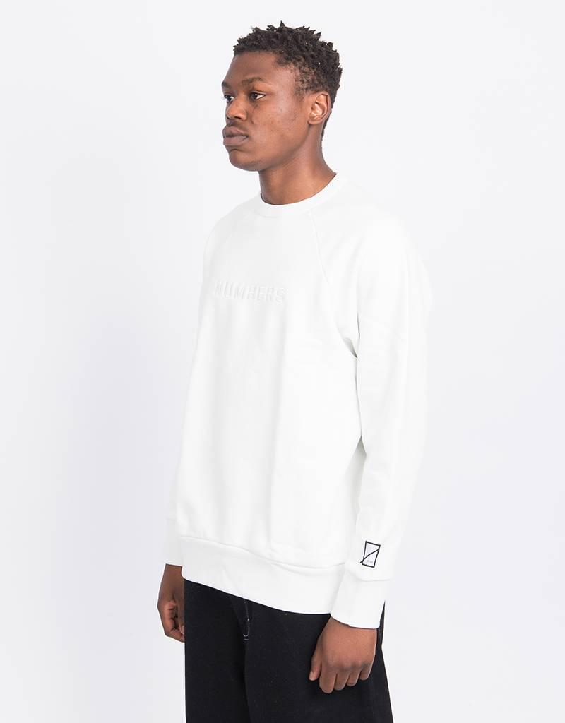 Numbers Embroidered Wordmark Crewneck Offwhite