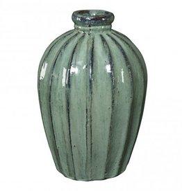 Tropix green ceramic pot l