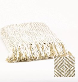 Plaid chenille of white/ecru140x170