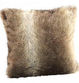 Cushion Brown fake fur with film square 45x45