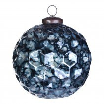 christmas dented blue glass ball s