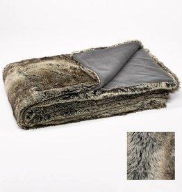 Throw fake fur acrylic grey wolf
