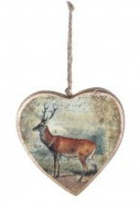 Christmas draw wooden heart deer
