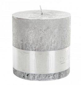 Rustic silver blok kaars 10x10