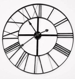 Simla Clock iron black silver dia 90 cm