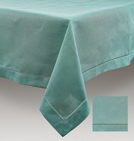 Simla Tafelkleed sea green hemstitch 170x350