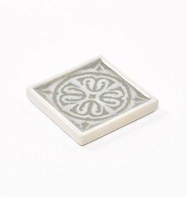 Onderzettertje ceramic grijs beige 10x10xH1,3