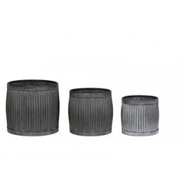 Bloempot freesia set of 3 zink grijs max 45x40