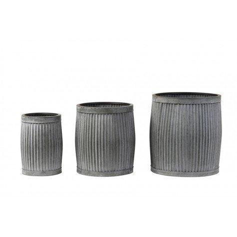 Bloempot freesia zink grijs set 3  max dia 44,5x49