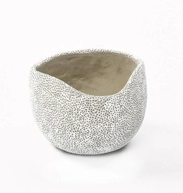 Cache pot ceramic of white dia 23,50 H15,50cm
