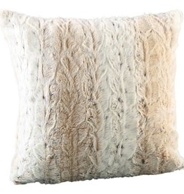 Softly white fake fur cushion with fill square s