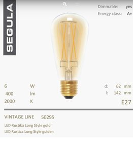Led rustica gold - long style- 2000K-6W-CRI+90