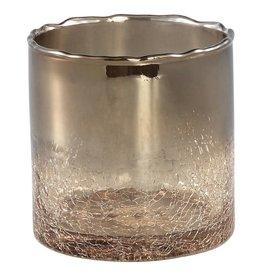 Kenz bronze glass pot crackle bottom round s