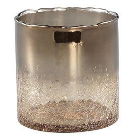 PTMD Kenz bronze glass pot crackle bottom round m