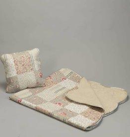 Quilt poly patchwork beige ecru pink + 1 kussen