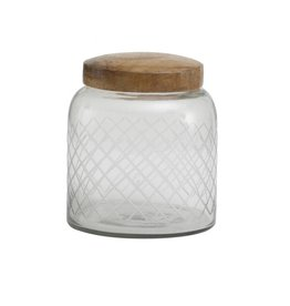 Dalton glass pot with wooden lid round