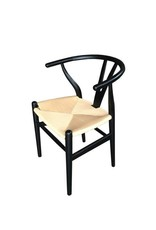 Zwarte houten stoel met naturel koordzitting