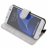 Glitter Wallet TPU Booklet Samsung Galaxy S7 Edge - Silver
