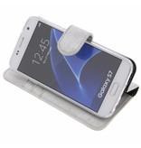 Glitter Wallet TPU Booklet Samsung Galaxy S7 - Silver