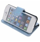 Glitter Wallet TPU Booklet iPhone 5 / 5s / SE - Blue