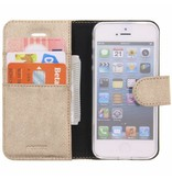 Glitter Wallet TPU Booklet iPhone 5 / 5s / SE - Goud
