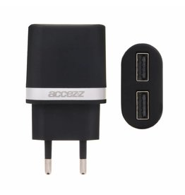Dual Port Wall Charger 2.4A - Zwart