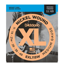 D'addario D'addario EXL115W Nickel Wound, Medium/Blues-Jazz Rock, Wound 3rd, 11-49