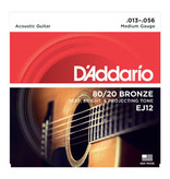 D'addario D'addario EJ12 80/20 Bronze Acoustic Guitar Strings, Medium, 13-56