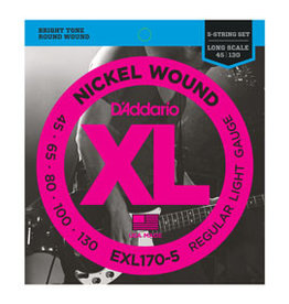 D'addario D'addario EXL170-5 Nickel Wound 5-String Bass, Light, 45-130, Long Scale