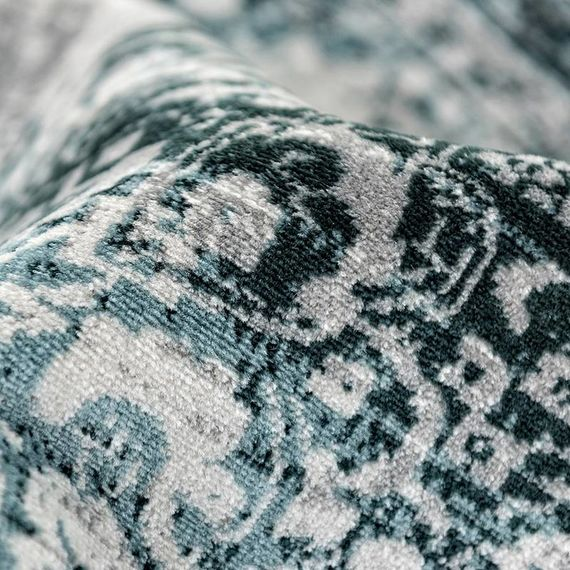 Vintage vloerkleed - Classic antraciet/blauw