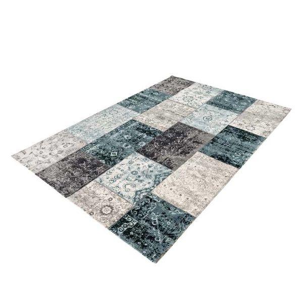Vintage vloerkleed - Patchwork Grijs/Blauw