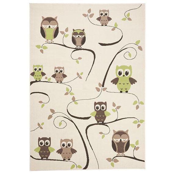 Zala living Kindervloerkleed Nala - uilen groen/bruin