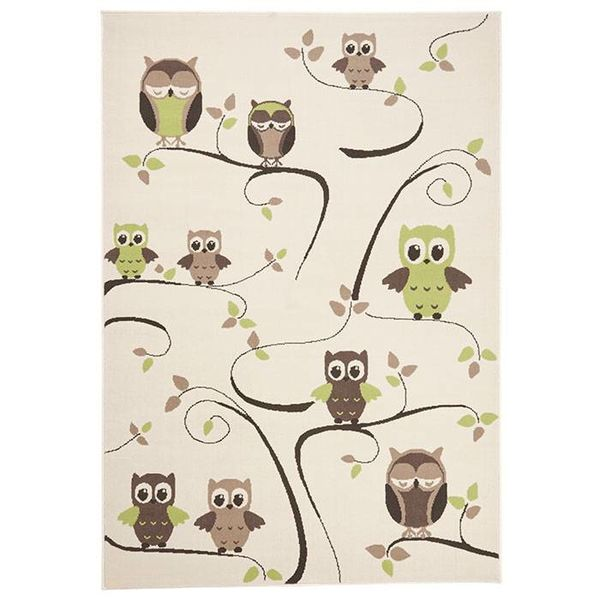 Kinder vloerkleed Nala - uilen groen/bruin