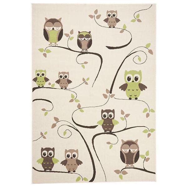 Zala living Kinder vloerkleed Nala - uilen groen/bruin