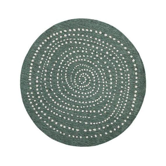 Bougari Rond Vloerkleed Twin Dot - Groen/Creme