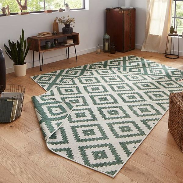 Vloerkleed Twin Diamond - Groen/Creme