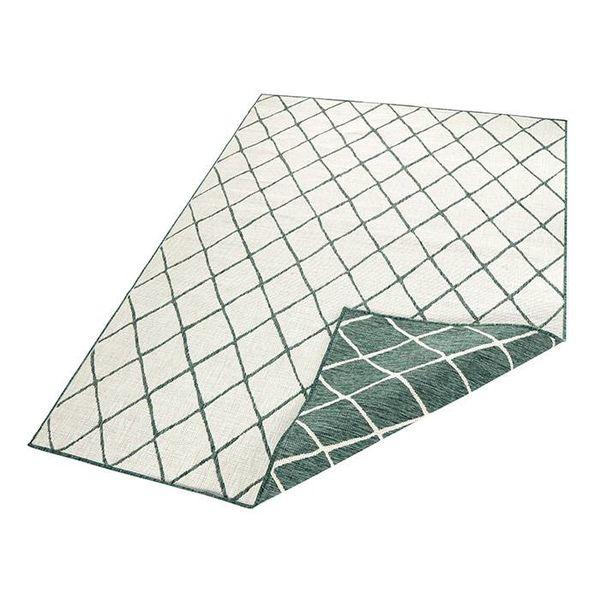 Vloerkleed Twin Lines - Groen/Creme