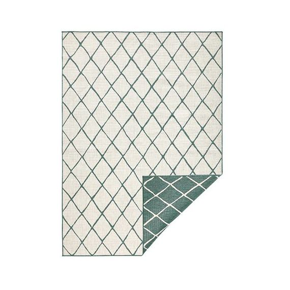Bougari Buitenkleed Twin Lines - Groen/Creme