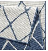 Vloerkleed Twin Lines - Blauw/Creme