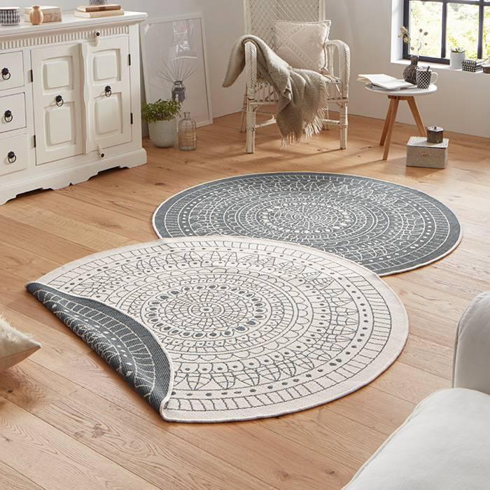 vloerkleed twin kring grijs creme de woonwinkelier. Black Bedroom Furniture Sets. Home Design Ideas