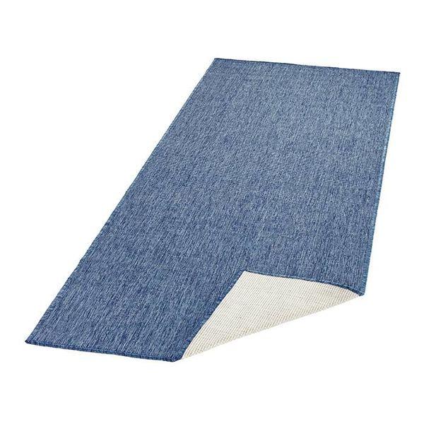 Vloerkleed Twin Solid - Blauw/Creme