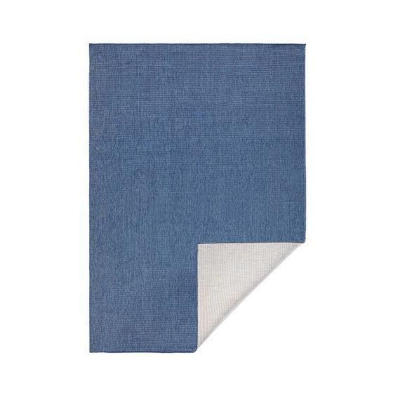 Bougari Vloerkleed Twin Solid - Blauw/Creme