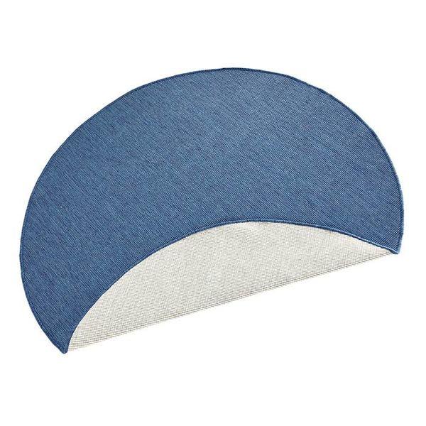 Bougari Rond Vloerkleed Twin Solid - Blauw/Creme