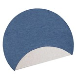 Bougari Rond Buitenkleed Twin Solid - Blauw/Creme