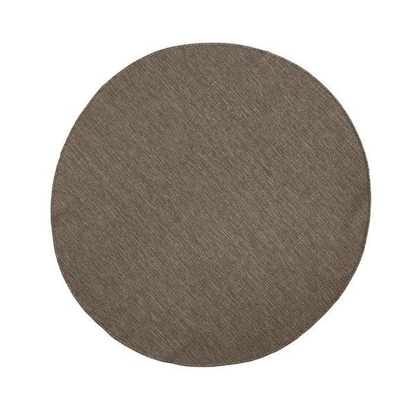 Bougari Rond Vloerkleed Twin Solid - Bruin/Creme
