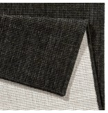 Vloerkleed Twin Solid - Zwart/Creme