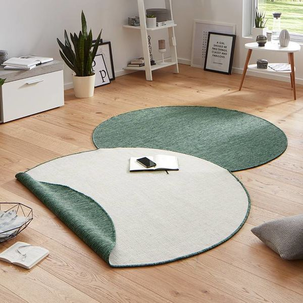 Rond Buitenkleed Twin Solid - Groen/Creme
