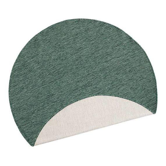 Bougari Rond Vloerkleed Twin Solid - Groen/Creme